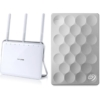 Set TP-Link Archer VR200v (DE) All-In-One Box Telefonie WLAN Modemrouter (VDSL/ADSL, 433Mbit/s (5GHz) + 300Mbit/s (2,4GHz), mit DECT-Basis und Mediaserver) + Seagate Backup Plus Ultra Slim 1TB, platin, externe Portable Festplatte (STEH1000200) USB 3.0; inkl. 200 GB Cloud Speicher & Backup für mobile Geräte -